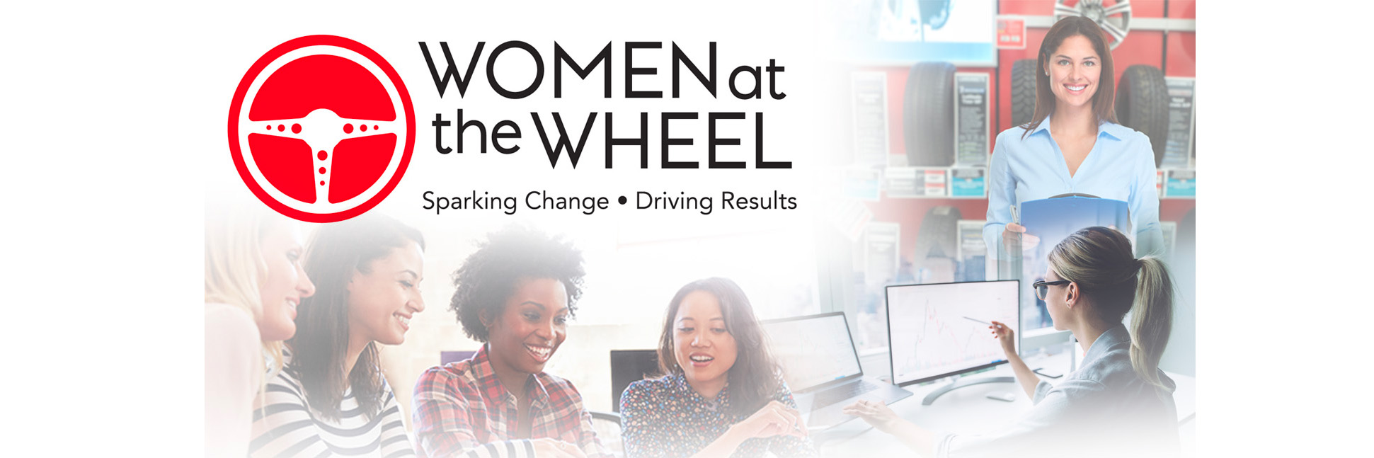 Group of women in a meeting; a woman pointing at a computer screen;   a woman holding a clipboard at a tire shop